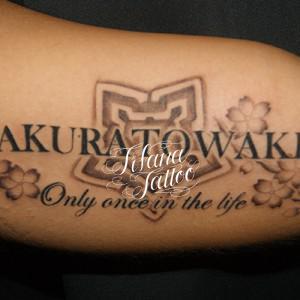 文字と五稜郭のタトゥー