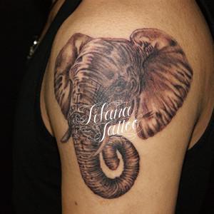 象のポートレイトタトゥー
