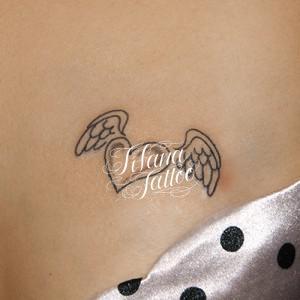 ハート|翼のワンポイントタトゥー