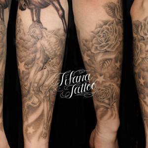 キリスト|薔薇|数字のタトゥー