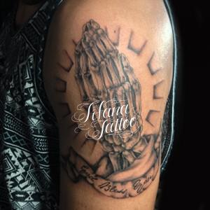Bone Praying Hands Tattoo