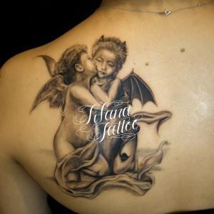 天使と悪魔のタトゥー|刺青作品画像