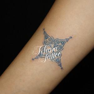 Blue Line Art Tattoo