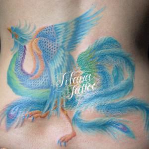 青い鳳凰のタトゥー|刺青作品画像