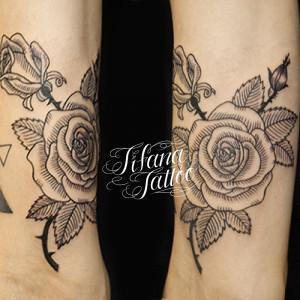 Line Art Rose Tattoo