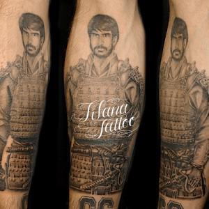 人物|鎧のポートレイトタトゥー