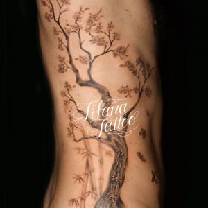 桜と竹のタトゥー