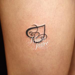 ハート|文字のタトゥー