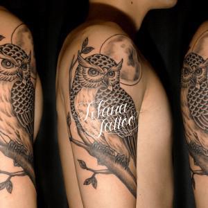 梟と月のタトゥー