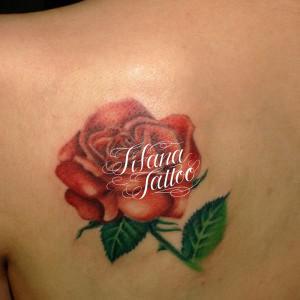 赤い薔薇のタトゥー