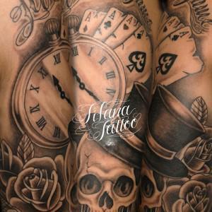 スカル|懐中時計|トランプ|薔薇のタトゥー