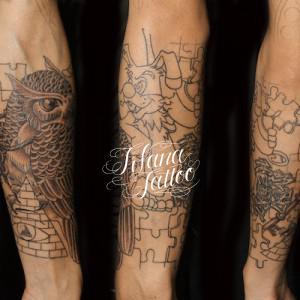 梟|パズルのタトゥー|製作進行中