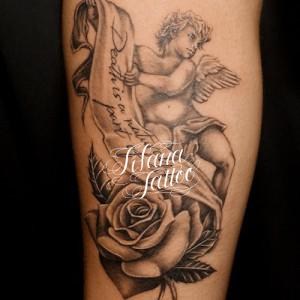天使|薔薇|文字のタトゥー