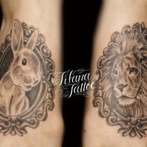 ウサギとライオンのタトゥー