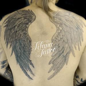 シンメトリーな翼|羽のタトゥー