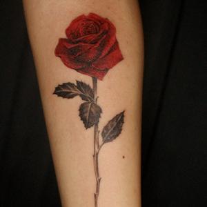 深紅な薔薇のタトゥー