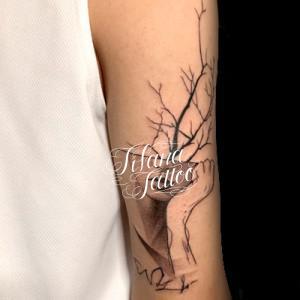 女性|樹木のタトゥー