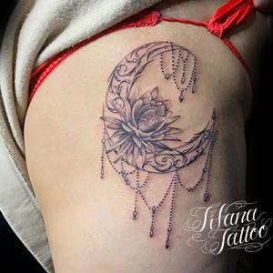 月|睡蓮のオーナメント・タトゥー