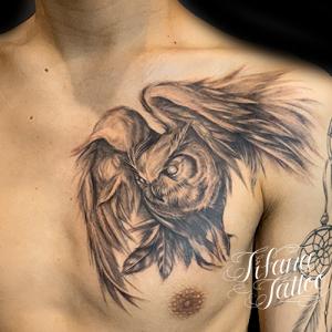 フクロウのタトゥー