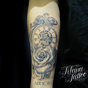 時計|薔薇|ローマ数字のタトゥー
