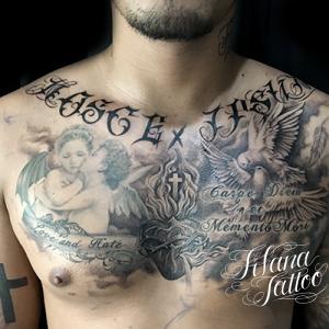 文字|天使|鳩|クロスのタトゥー