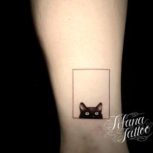 図形と猫のタトゥー