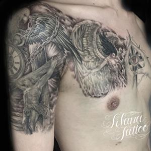 女神|ジーザス|懐中時計のタトゥー