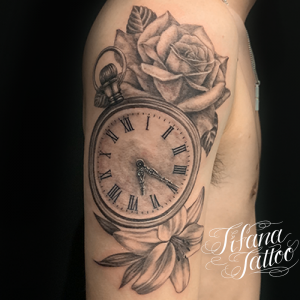 時計|百合|薔薇のタトゥー