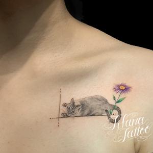 猫のファインライン・タトゥー