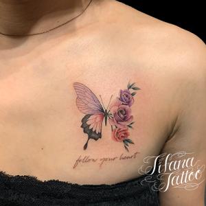 蝶|薔薇|文字のファインライン ・タトゥー