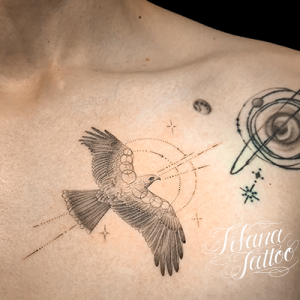 イーグルのファインライン・タトゥー