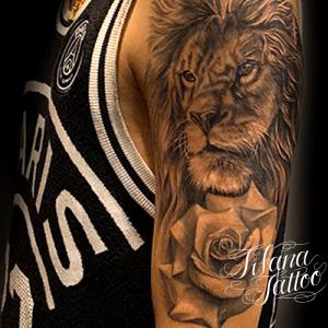 ライオン|薔薇のタトゥー