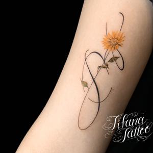 向日葵|ヒマワリのファインライン・タトゥー