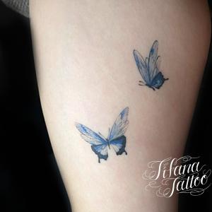 蝶のファインライン・タトゥー